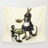 cafe Wall Tapestries featuring Kangaroo cafe by Anna Shell