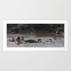 Fighting Hippos Art Print