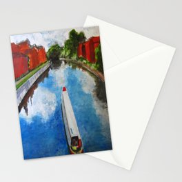 Longboat canal boat on river Stationery Cards