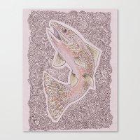 trout Canvas Prints featuring Trout Fishins by Leahschmidt