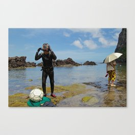 """Two very different grandmothers"" Jeju Island, Korea Canvas Print"