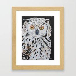 Owl painting,Original Bird art, Owl wall art, Horned Owl, Library decor Framed Art Print