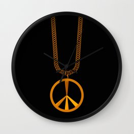 Peace Sign Necklace Wall Clock
