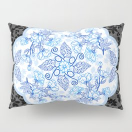 Peonies and Paisley on Black Pillow Sham