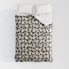 Abstract nobbly black creeper grid on neutral Comforters