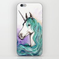 unicorn iPhone & iPod Skins featuring Unicorn by Pendientera