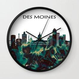Des Moines Skyline Wall Clock