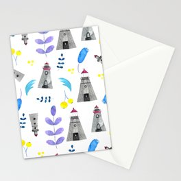 Romantic lighthouse pattern // flowers and lighthouse Stationery Cards