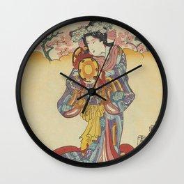 Japanese GEISHA Playing Drum Blossom Pink Flowers Trees Japan Vintage Print Art Wall Hanging Interior Decor Wall Clock