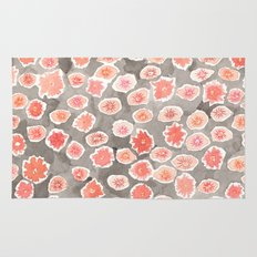 Watercolor flowers pink and gray by robayre Rug