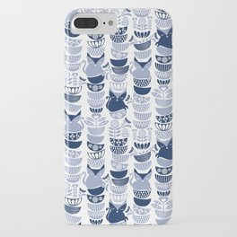 Swedish folk cats III // white background pale and navy blue kitties & bowls iPhone Case