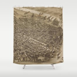 Vintage Pictorial Map of Chattanooga (1886) Shower Curtain