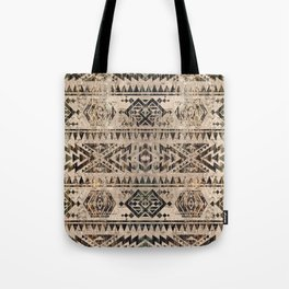 Ethnic Geometric Bark and Wood texture pattern Tote Bag