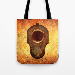 M1911 Colt Pistol Muzzle On Rusted Background Tote Bag