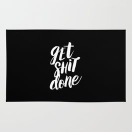 Get Shit Done black and white modern typographic quote poster canvas wall art home decor Rug