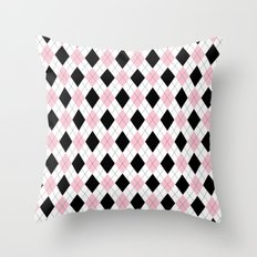 Pink, Black, White Argyle Pattern Throw Pillow