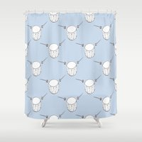 drum Shower Curtains featuring Drum  by Little Owl Oddities