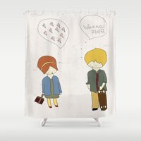 skate Shower Curtains featuring Skate Luv by The Little Illustrator