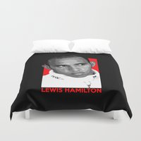 formula 1 Duvet Covers featuring Formula One - Lewis Hamilton by Vehicle
