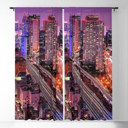 Cityscape At Night Magenta Tint High Resolution Blackout Curtain