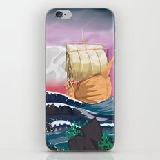 Old sail ship on a ocean storm iPhone & iPod Skin