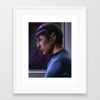 spock Framed Art Prints featuring Spock by KirstyCarter