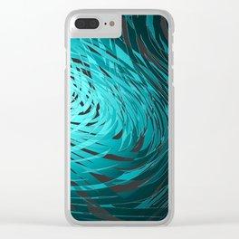 Complex Spiral-Aqua Clear iPhone Case