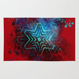 Glowing abstract blue star on blood red Rug