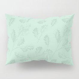 Mint green winter oak leaves botanical illustration Pillow Sham