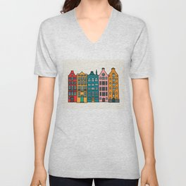 Cartoon old Amsterdam downtown buildings Unisex V-Neck