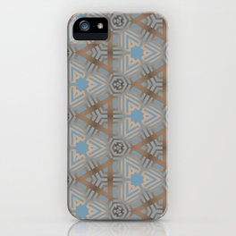 Beige and Blue Contemporary Tribal Pattern iPhone Case