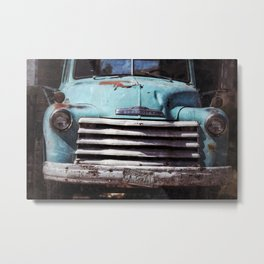 Chevy, Baby Blue Truck Metal Print