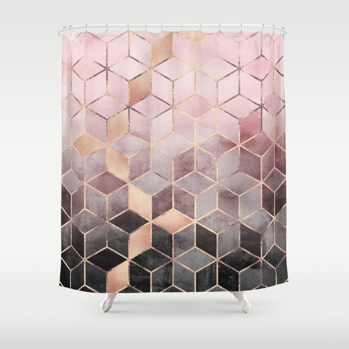 Pink And Grey Gradient Cubes Shower Curtain
