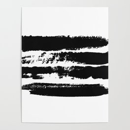 Abstract black brush strokes on white background, monochrome. Print. Poster