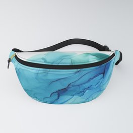 Emerald Sea Waves - Abstract Ombre Flowing Ink Fanny Pack