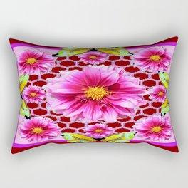 Frosted Fuchsia Pink Dahlias Lace Butterflies Brown Patterned Art Rectangular Pillow