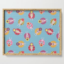Floating in the Pool Pattern. Women on colorful floaties. Serving Tray