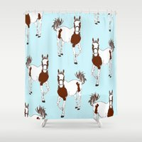 horses Shower Curtains featuring horses by Wee Jock