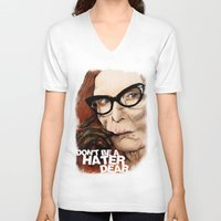 coven V-neck T-shirts featuring Myrtle Snow || Don't be a hater, dear (from American Horror Story: Coven) by PandaToyz