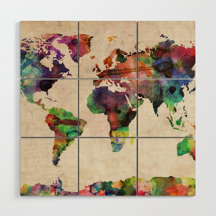 World Map Urban Watercolor Wood Wall Art by artpause | Society6