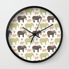 Brown Pink and Green Elephant Silhouette Seamless Wall Clock