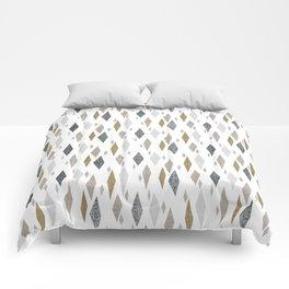 Danish Diamond Mid-Century Geometric Print Tan Comforters