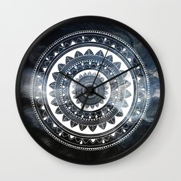 Ukatasana white mandala on sky Wall Clock