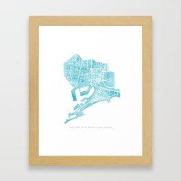 Barcelona map: Ciutat Vella (mint) Framed Art Print