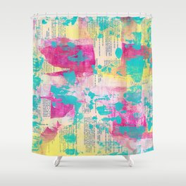 Abstract Mixed Media - Neon Shower Curtain
