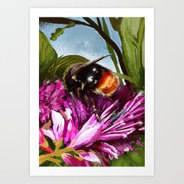 Bee on flower 9 Art Print