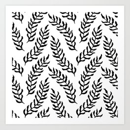 Seamless Black And White Leaves Pattern Art Print