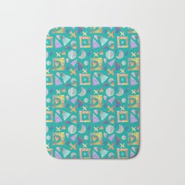 Geometric collage - turquoise Bath Mat