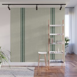 Vintage Country French Grainsack Green Stripes Linen Color Background Wall Mural