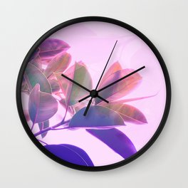 Elegant Tropical Rubber Foliage 1 - Pink and purple Wall Clock